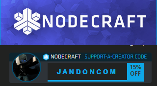 Nodecraft offer code jandoncom for 15% off